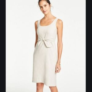 Ann Taylor Linen Blend Tie Front Sheath Dress 2